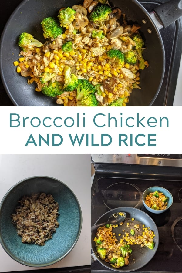 broccoli chicken and wild rice in a skillet, Rice in a bowl and broccoli chicken and wild rice on a stove