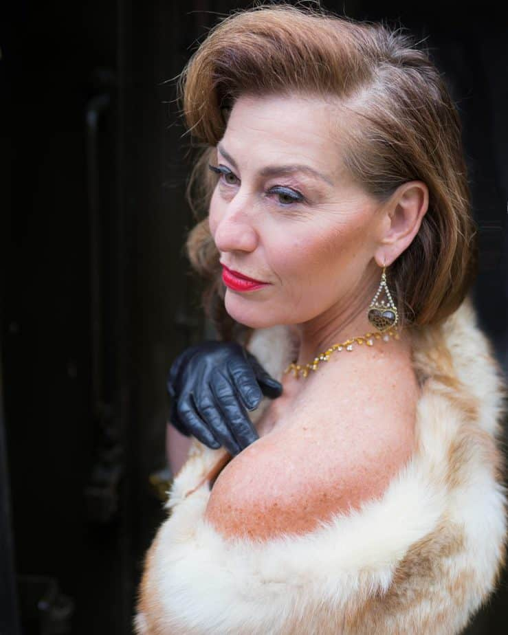 woman wearing white fur