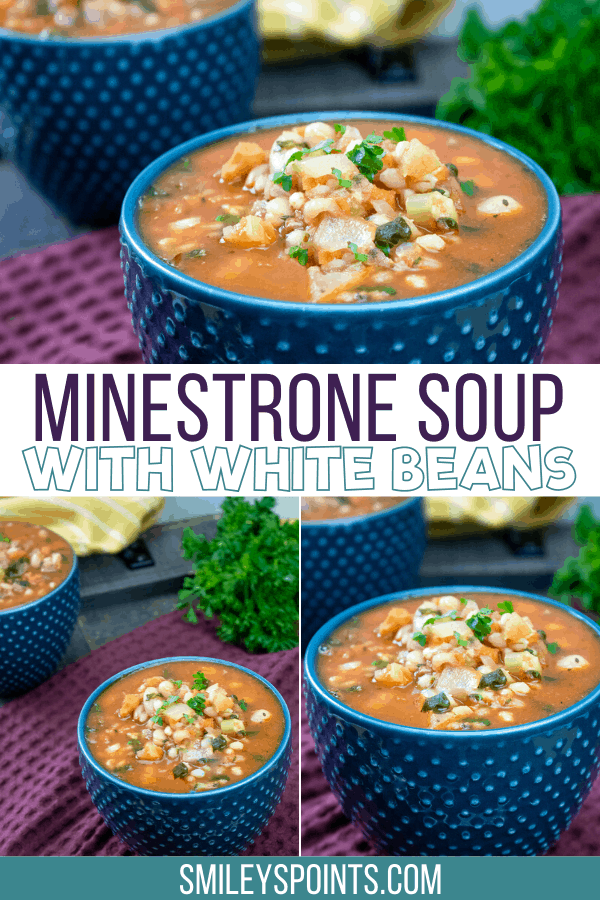 Collage of minestrone soup in bowls