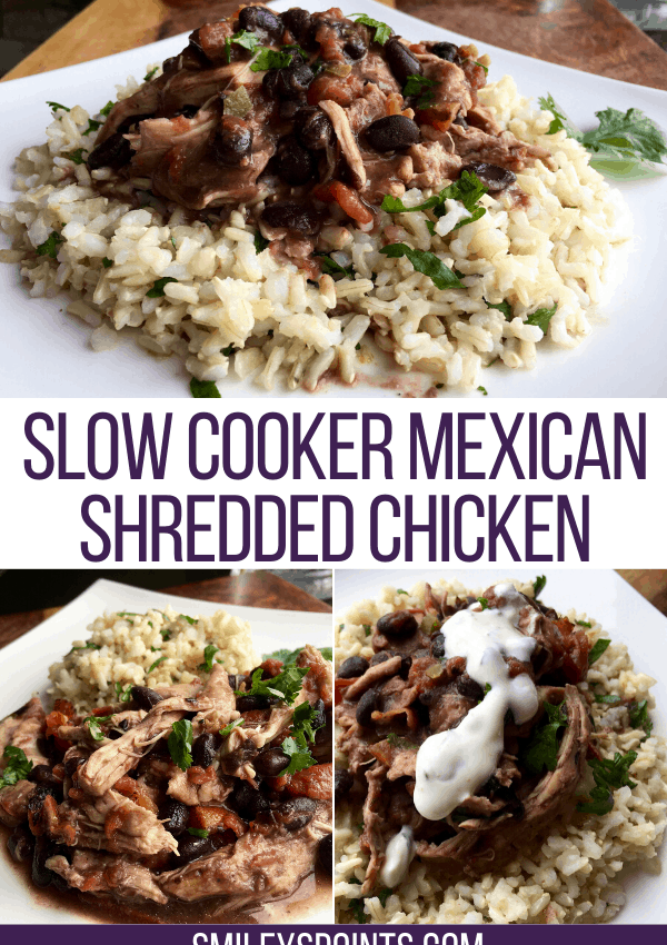 collage of slow cooker mexican shredded chicken
