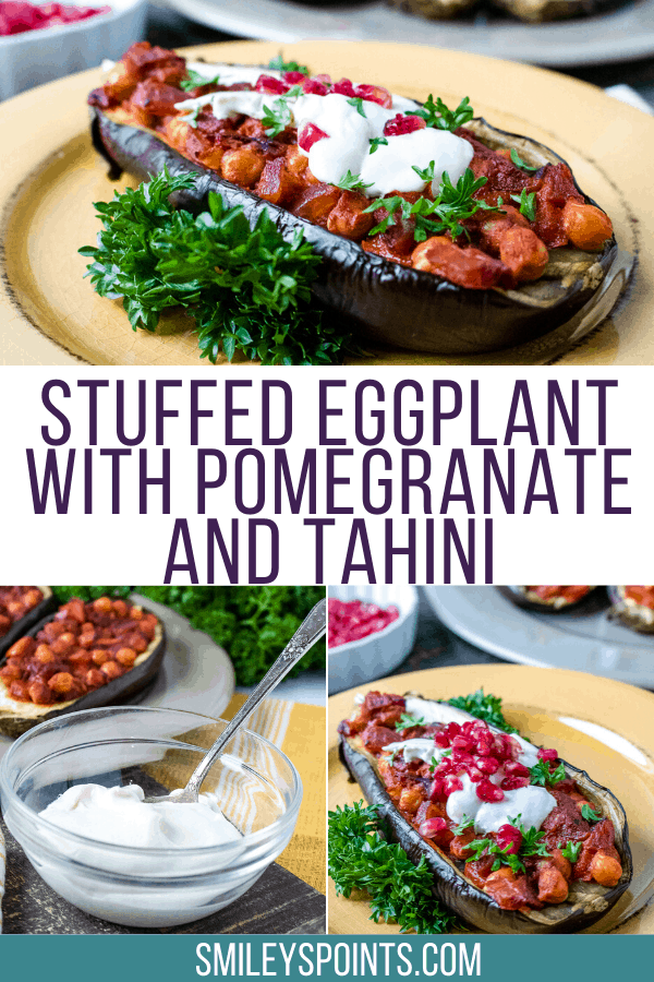 Stuffed Eggplants with Pomegranate & Tahini on a yellow plate