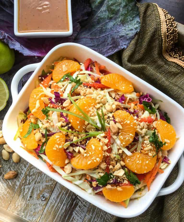 vegan cabbage salad with peanut dressing