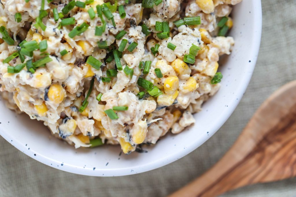 Bowl of vegan tuna salad with corn