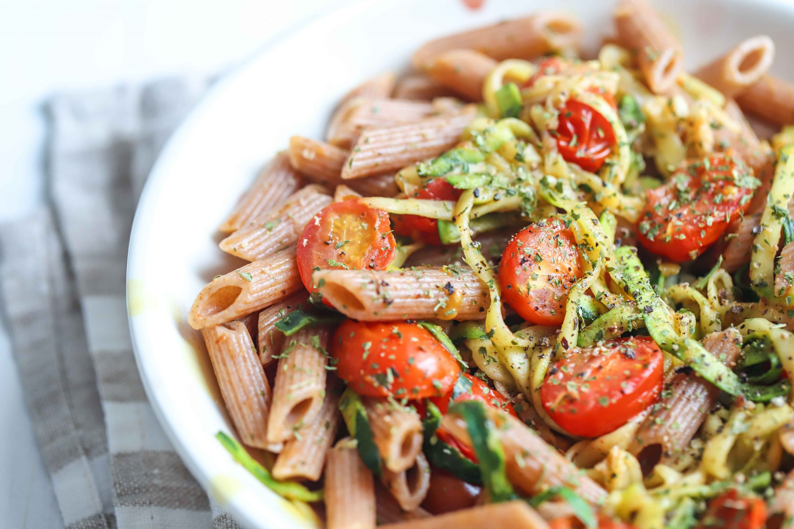 Brown Rice Pasta with Parmesan Garlic Zucchini