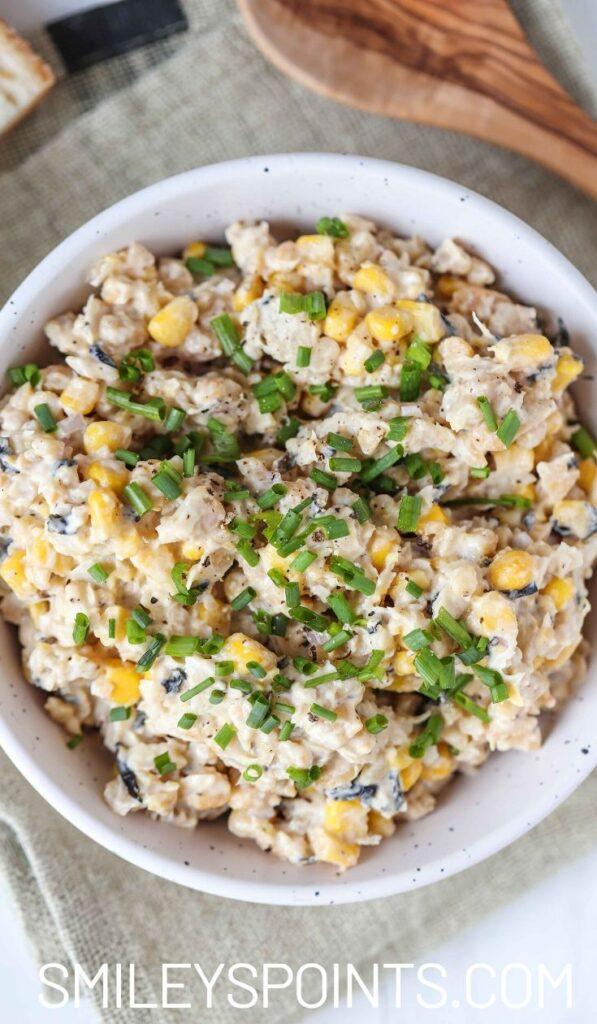 Chickpea tuna salad in white bowl
