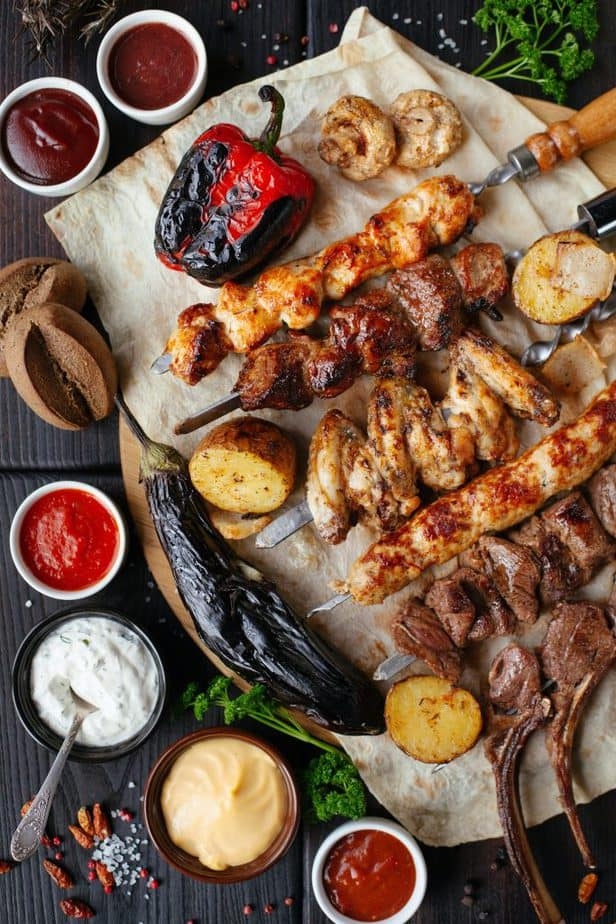 bbq meats and vegetables