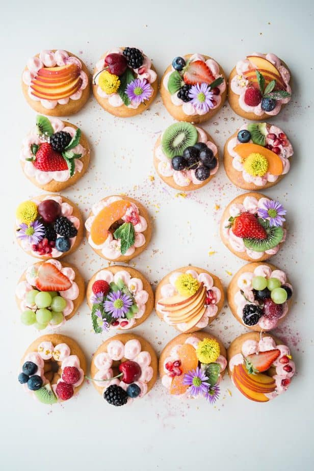 Cookies with fruit on top.