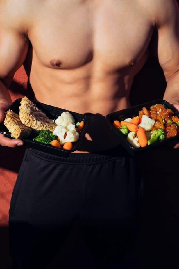 meal served by a shirtless man