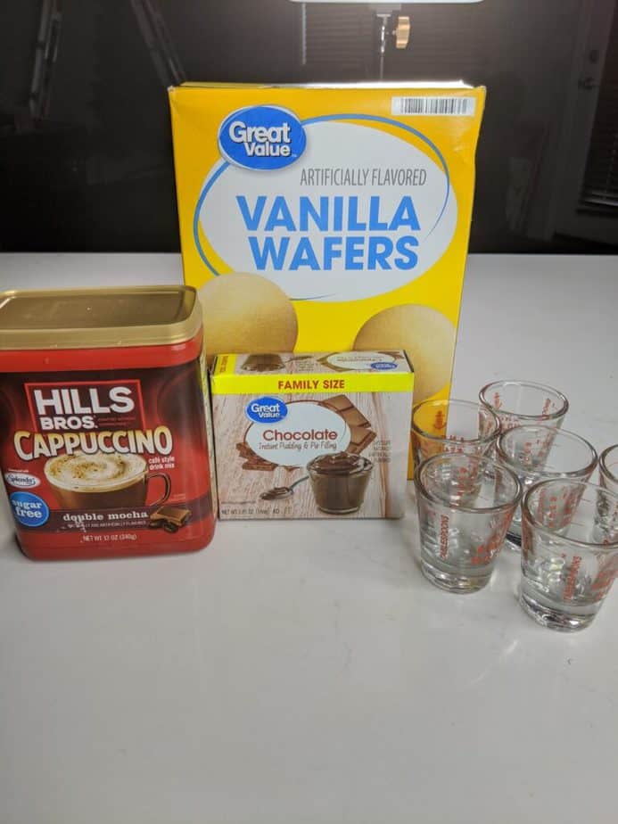 Ingredients for chocolate mousse shots