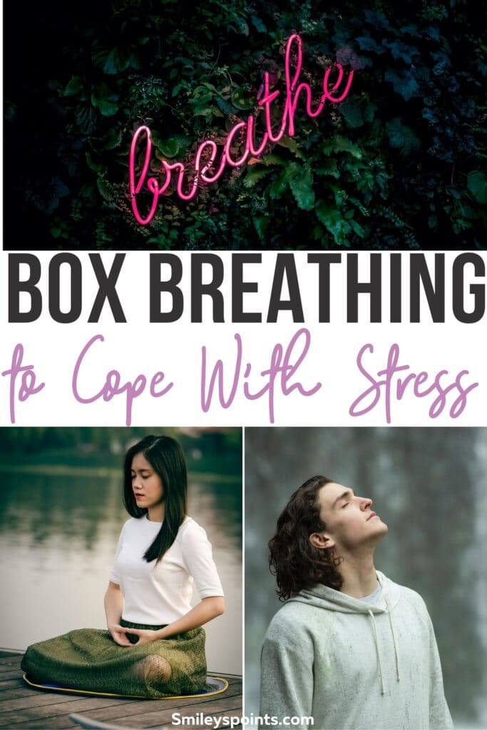 Box Breathing  collage on top is a neon pink sign that says breathe bottom left is a woman in the lotus pose meditation and the bottom right has a man looking towards the sky with his eyes closed