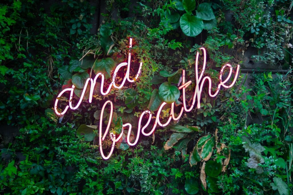 box breathing and breathe pink neon sign