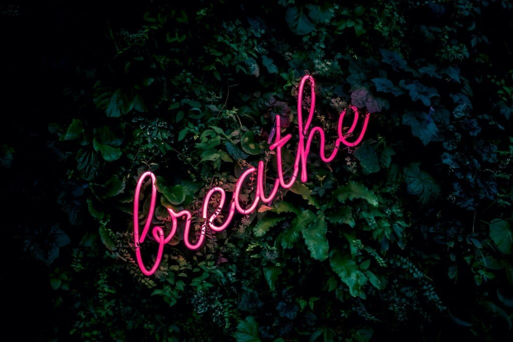 box breathing breathe pink neon sign
